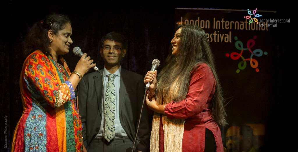 Ashanti Omkar with LIAF Directors Jyotsna Srikanth and Srikanth Sharma at the curtain raiser that happened at Jazz Cafe on October 8.